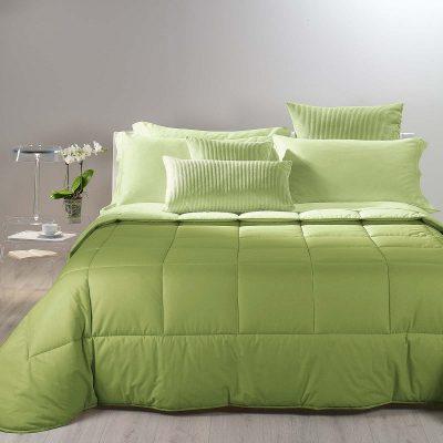 Trapunta tinta unita Bicolor in cotone verde