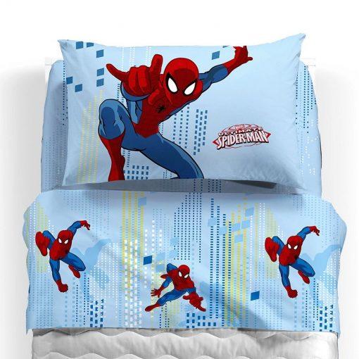 Lenzuola 1 piazza e mezza Spider Man Sky in cotone