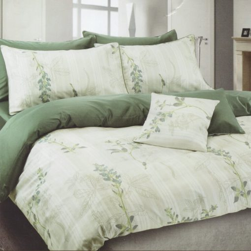 Copripiumino matrimoniale Soft Green in cotone con delicati disegni floreali
