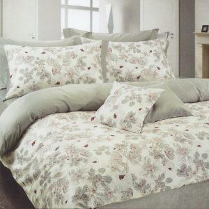 Copripiumino matrimoniale Soft Grey in cotone con delicati disegni floreali