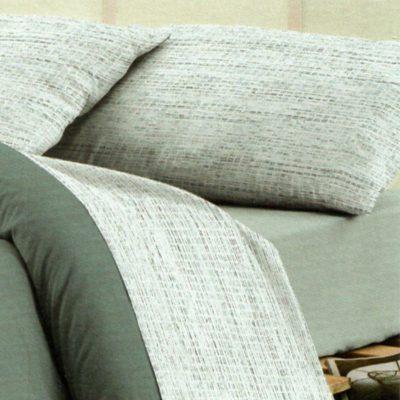Lenzuola Singole in cotone Happidea con delicata fantasia in grigio