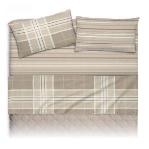 Lenzuola matrimoniali Maxi in cotone Pablo di Co&Co color grigio con motivi geometrici