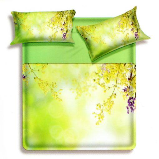 Trapuntino matrimoniale Videl di Biancaluna con delicati fiori gialli