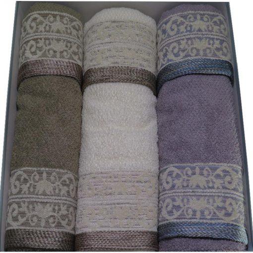 Asciugamani in spugna Dublino di Vingi con ricamo jacquard