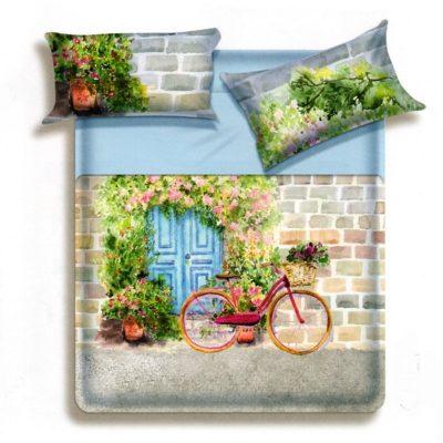 Lenzuola matrimoniali Chet di Biancaluna con riproduzione di uno scorcio di paesaggio