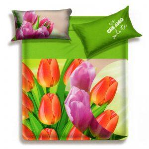 Lenzuola matrimoniali Green di Biancaluna che raffigurano colorati tulipani