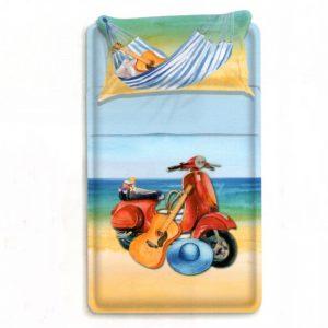 Lenzuola singole Selen di Biancaluna che raffigura uno scooter e una chitarra