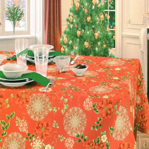 Tovaglia rossa 24 posti natalizia con tovaglioli Fiori