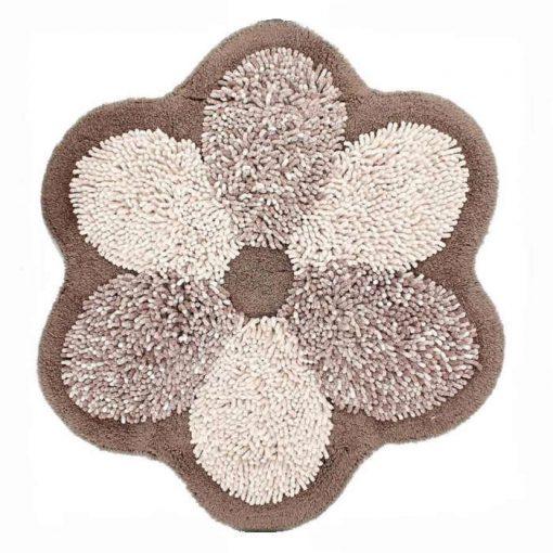 Tappeto bagno antiscivolo sagomato Flower tortora