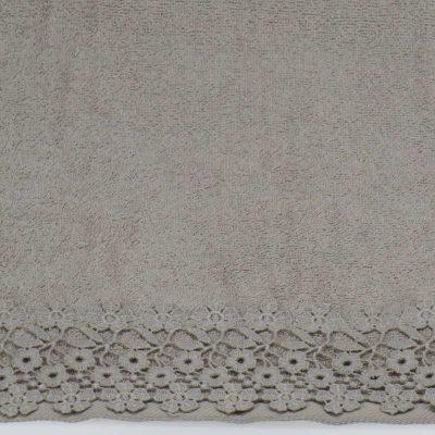 Asciugamani con balza in pizzo grigio di fiorellini