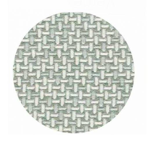 Copriletto matrimoniale in tessuto jacquard matelassè con un disegno a trame di fili intrecciati grigio e verde fieno