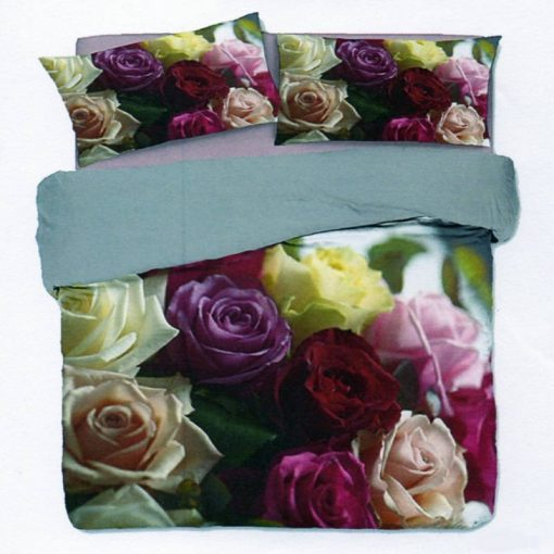 Copripiumino matrimoniale Rose in cotone con un'immagine di tante rose colorate