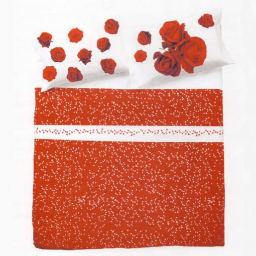 Lenzuola romantiche a sfondo rosso con grandi rose rosse