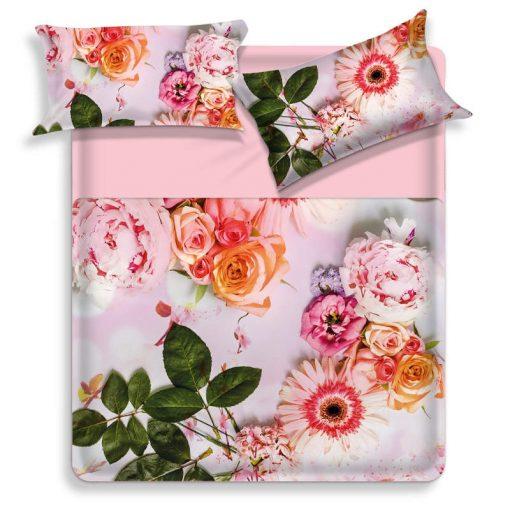 Lenzuola matrimoniali copriletto decorate con una colorata variazione di fiori
