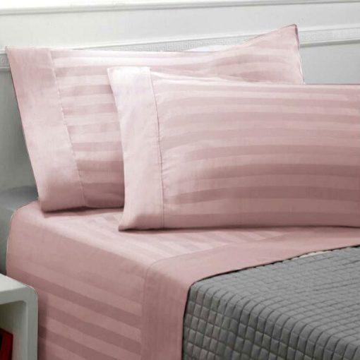 Lenzuola matrimoniali in raso di cotone rosa