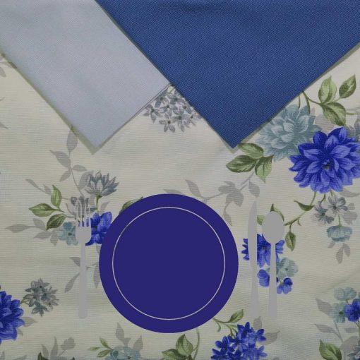 Tovaglia 12 posti con tovaglioli Fiori Blu piatto blu