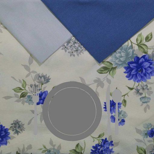 Tovaglia 12 posti con tovaglioli Fiori Blu piatto grigio chiaro