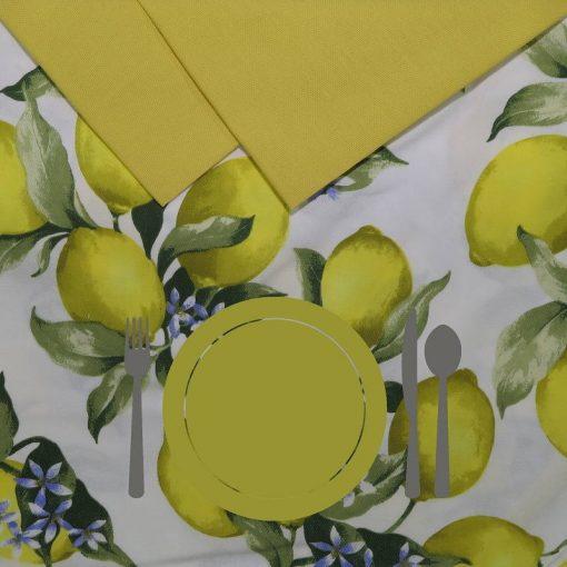 Tovaglia 12 posti con tovaglioli Limoni piatto giallo