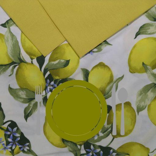 Tovaglia 12 posti con tovaglioli Limoni piatto verde