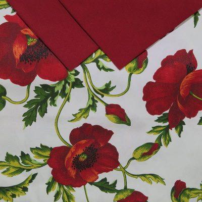 Tovaglia 12 posti con tovaglioli con dei colorati Papaveri rossi
