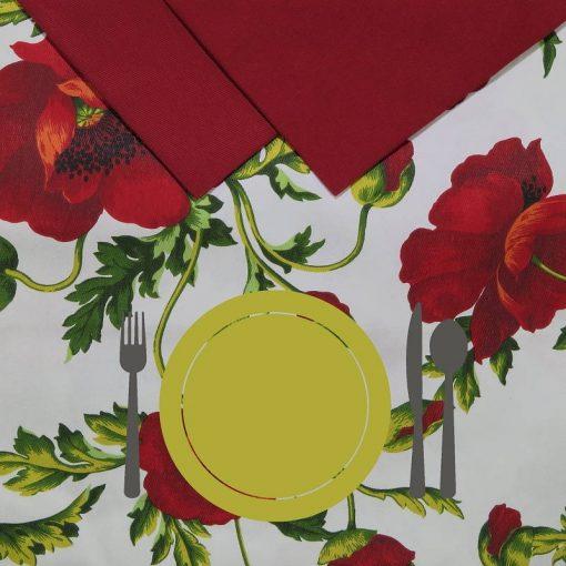 Tovaglia 12 posti con tovaglioli Papaveri piatto giallo