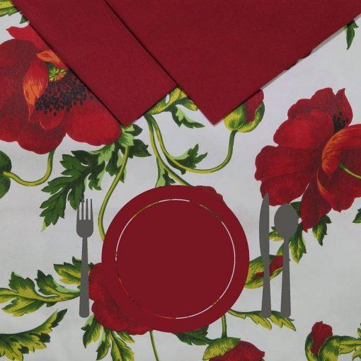 Tovaglia 12 posti con tovaglioli Papaveri piatto rosso