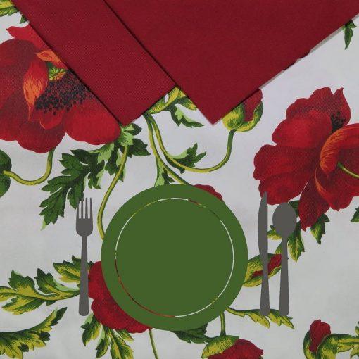 Tovaglia 12 posti con tovaglioli Papaveri piatto verde