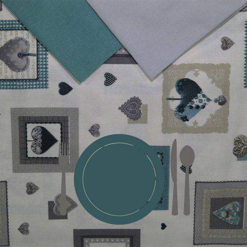 Tovaglia rotonda 8 posti con tovaglioli Shabby piatto azzurro