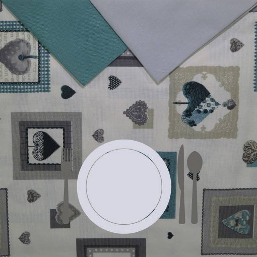 Tovaglia rotonda 8 posti con tovaglioli Shabby piatto bianco