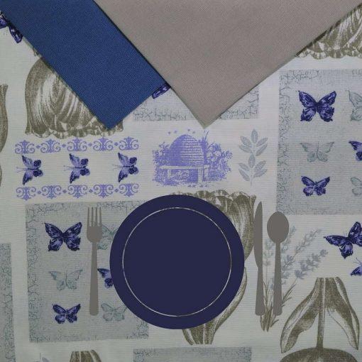 Tovaglia 6 posti con tovaglioli Tulipani Grigi piatto blu