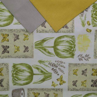 Tovaglia rotonda 8 posti con tovaglioli Tulipani verdi