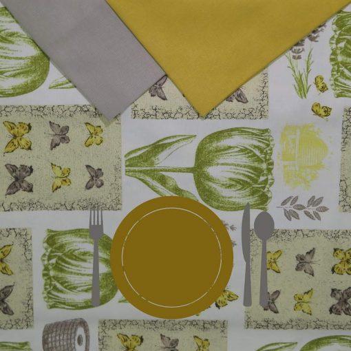 Tovaglia rotonda 8 posti con tovaglioli Tulipani verdi piatto giallo