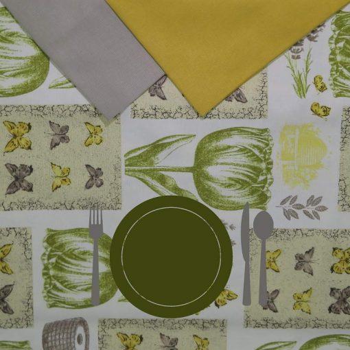 Tovaglia rotonda 8 posti con tovaglioli Tulipani verdi piatto verde
