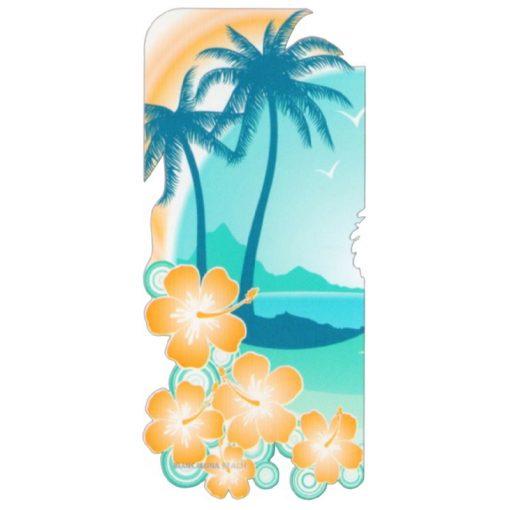 Telo mare sagomato in microfibra Coconut che riproduce una spiaggia con palme e fiori