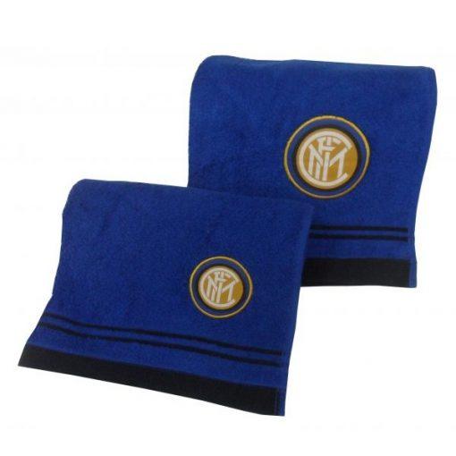 Coppia di asciugamani viso e ospite con il logo della squadra dell'Inter