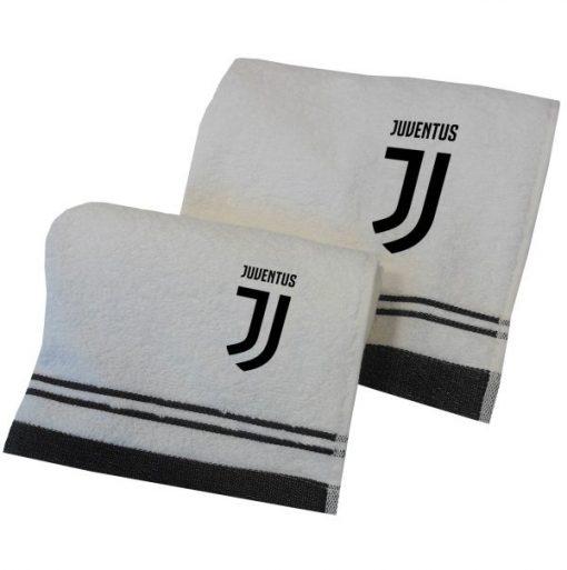 Coppia di asciugamani viso e ospite con il logo della squadra della Juventus
