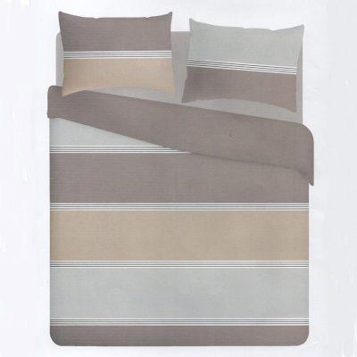 Copripiumino letto singolo in cotone con varie declinazioni del color tortora proposte in larghe fasce orizzontali