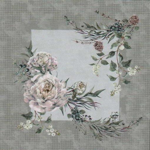 Cuscino d'arredo in raso di cotone con stampa digitale di fiori con cornice grigio