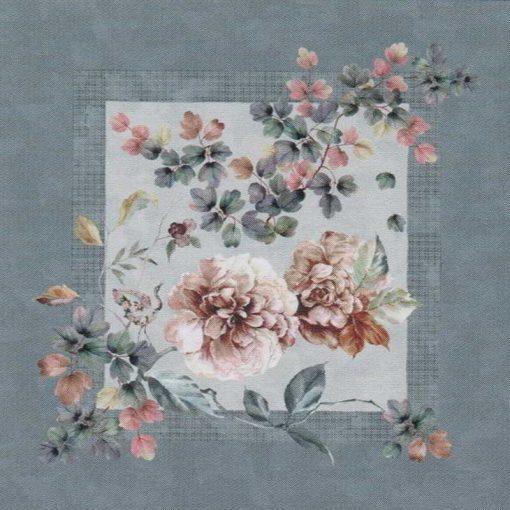 edera copricuscino arredo Zaffiro con stampa digitale di grandi fiori rosa con cornice color grigio