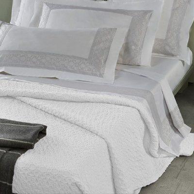 Copriletto matrimoniale bianco in cotone Mirabello Pompei