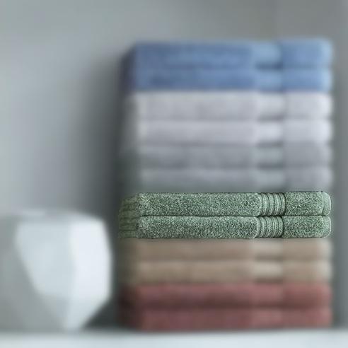 Asciugamano viso + ospite verde Carrara Twist