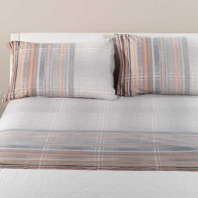 Lenzuola matrimoniali Caleffi Oxford in cotone grigio con sfumature delicate di colori ambra in varie tonalità