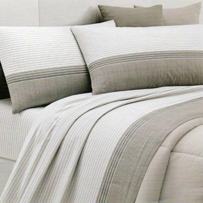 Lenzuola matrimoniali Lord in cotone nei colori beige e grigio in tono chiaro con balza scura