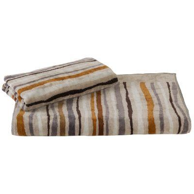 asciugamani viso + ospite color corda a linee irregolari dai colori naturali come marrone e grigio
