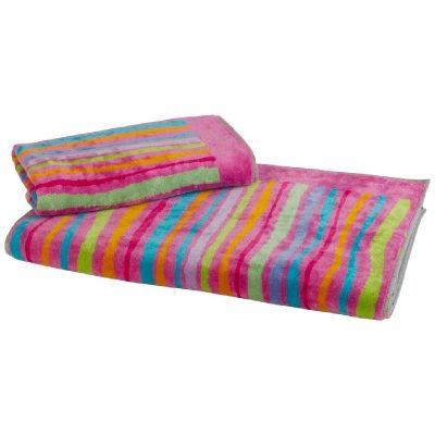 asciugamani viso + ospite a linee irregolari dai colori naturali come azzurro, arancio e verde
