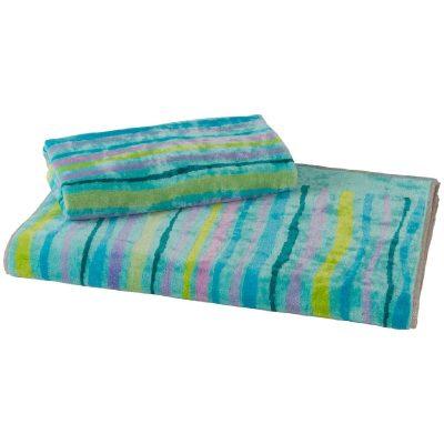 asciugamani viso + ospite a linee irregolari dai colori naturali come verde e blu