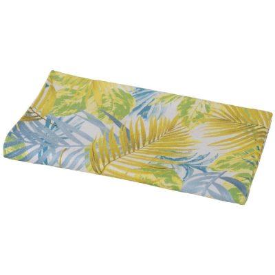asciugamano-telo-mare-menorca-turchese con disegni di foglie azzurre e gialle di ispirazione caraibica