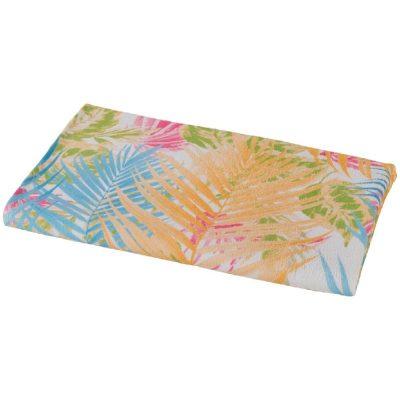 asciugamano-telo-mare-carrara-menorca-fucsia con disegni di foglie di palme color fucsia e azzurro
